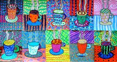 A cup of fantasy! sketch simple lines in pencil; paint in plain color of tempera; when dry add patterns using at least three colors. See how many textures you can paint and how many ways there are to use a brush.