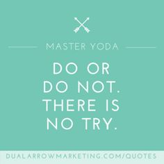 Do or do not. There is no try. A quote from Jedi Master Yoda (fictional character), featured on the motivational quotes page at DualArrowMarketing.com/quotes