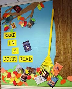 Must do this in my reading corner of the classroom! Great Fall Display Idea -- This display is by Bess Gonglewski - she is responsible for the displays and bulletin boards at the Marriott Library at the Holton-Arms School in Bethesda, Maryland (USA). November Bulletin Boards, Reading Bulletin Boards, Bulletin Board Display, Classroom Bulletin Boards, Preschool Bulletin, Classroom Ideas, Reading Boards, Preschool Boards, Classroom Layout