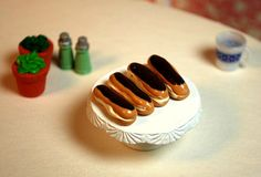 Miniature Chocolate Eclair Dessert Treat (playscale 1:6 scale diorama play mini for fashion/teen dolls)