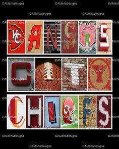 Kansas City Chiefs Framed Alphabet Photo Art by DAMartndesign, $39.00
