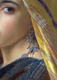 "William-Adolphe Bouguereau: details of ""Girl with a Pomegranate"" (1875); oil on canvas, 59.6 × 45.7 cm (private collection)."