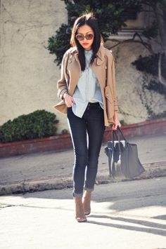 chambray shirt and trench cape