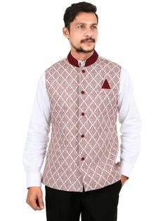 I Party Linen Embroidered Beige Men Waistcoat