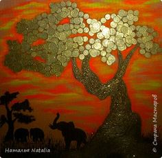 Картина панно рисунок Мастер-класс Аппликация из скрученных жгутиков Рисование и живопись Денежное дерево Гуашь Клей Краска Монета Салфетки Ткань Фанера