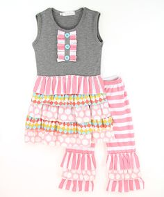 Look at this Gray & Pink Top & Ruffle Pants - Infant, Toddler & Girls on #zulily today!
