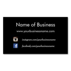 A modern and simple plain black business card that can be personalized by adding your social media websites like Facebook and Instagram.