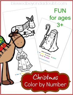 FREE Christmas color by number - Nativity Edition! It has helped me with her number recognition.