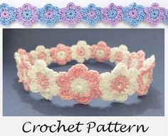 Linked Flowers Headband Crochet Pattern for any size: preemie, newborn, baby, toddler, child, teen, adult. Two tone flowers made from cotton crochet thread, perfect for summer or any occasion.