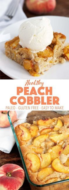 This delicious southern peach cobbler recipe is simple to make and only takes 10 minutes of prep time! It's gluten free, paleo, and dairy free.