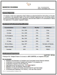Experienced Chartered Accountant Resume Sample Doc (1)