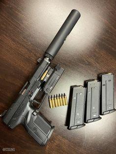 Military Weapons, Weapons Guns, Guns And Ammo, Fn Five Seven, Armas Wallpaper, Shooting Guns, Concept Weapons, Custom Guns, Cool Guns
