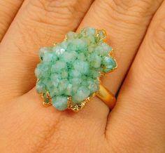 20 Carat.Gold Plated sugar Druzy Agate Adjustable Ring Jewelry NJ1141 #Handmade