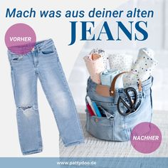 Jeans upcycling utensilo simple DIY idea for old children's pants Jean Outfits, Kids Outfits, Casual Outfits, Casual Jeans, Old Jeans, Ripped Jeans, Jeans Denim, Sewing Dress, Invisible Stitch