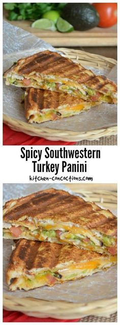 This Spicy Southwestern Turkey Panini recipe, paired with some potato chips, pickles or some fresh fruit, is a hearty and satisfying lunch or dinner! Panini Sandwiches, Turkey Sandwiches, Panini Sandwich Recipes, Wrap Recipes, Lunch Recipes, Cooking Recipes, Best Panini Recipes, Turkey Panini, Chicken Panini