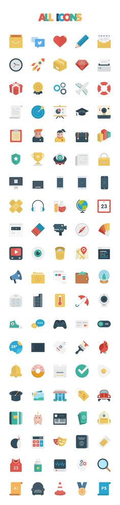 Basic Flat Icon Set by PixelBuddha on Creative Market