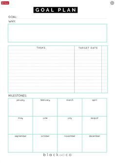 A planner to help you make your goal plan. As simple as possible. Make your plan, work on it consistently and you will be Printable Goal Sheets to Help You Stay on Track This Year Goals Planner, Planner Pages, Life Planner, Weekly Planner, Work Planner, College Planner, College Tips, The Plan, How To Plan