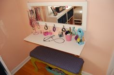 makeup table made from $8 shelf from Lowe's and recovered garage sale bench, Girls' Rooms Design