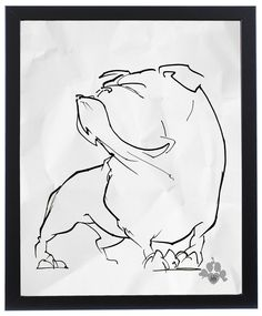 English Bulldog Gesture Sketch Art Print – JohnLaFree.com #bulldog #johnlafree