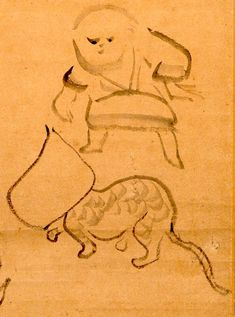 Cat with paper bag on head, with child! Sengai Gibon (1750 - 1837) Japanese monk and humor-infused zen artist