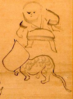 紙袋を被った猫と子ども(『猫に紙袋図』 仙厓義梵 画)の拡大画像