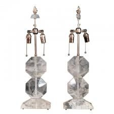 Marvin Alexander,Inc. Art Deco style rock crystal lamps, 20th Century.