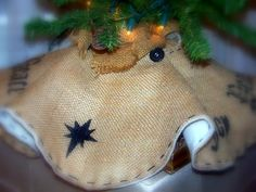 Burlap Tree Skirt, STARRY NIGHT, Blanket lined, black stencil, Joy, Peace, Size small,pleated, buttons. $57.00, via Etsy.