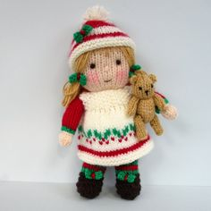 9d4c9ca04a06ee HOLLY and her TINY TEDDY - An easy to make dolly. You will find plenty of  pictures and step by step instructions in the 9 page pattern.