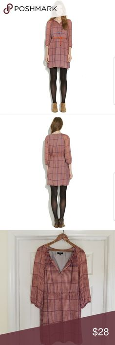 "Madewell silk peasant dress Great dress in beautiful silk print, just too short on me. EUC.bust 21"" elastic waist 16"" length 34"". Madewell Dresses"