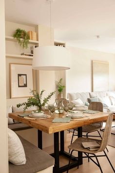 Cozy Living Rooms, Apartment Living, Home And Living, Living Room Decor, Living Spaces, Home Room Design, Dining Room Design, House Design, Breakfast Table Decor