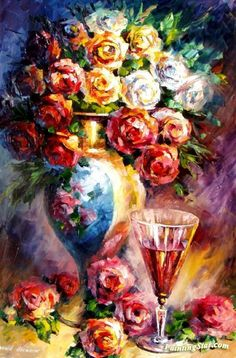 Roses Artwork by Leonid Afremov Hand-painted and Art Prints on canvas for sale,you can custom the size and frame