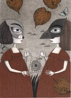 "Saatchi Art Artist Judith Clay; Drawing, ""Ana and Eva (An All Hallows' Eve Tale)"" #art"