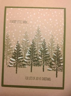 Lovely as a tree Christmas card. Stampin' Up! Stamped Christmas Cards, Homemade Christmas Cards, Christmas Cards To Make, Xmas Cards, Christmas Greetings, Homemade Cards, Handmade Christmas, Holiday Cards, Scrapbook Cards