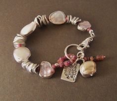 COUPON SALE Silver Rimmed Pearls, Thai Silver, Pink Tourmaline Bracelet, Artisan Jewelry, Sundance Style. $120.00, via Etsy.