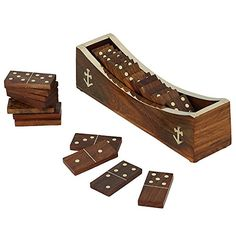 Wooden Domino Game, Open Boat Tray and Pieces, Handmade Christmas Gift; Board Game for Adults ShalinIndia http://www.amazon.in/dp/B00PNBBGVS/ref=cm_sw_r_pi_dp_I2.Avb0ZC9BQA