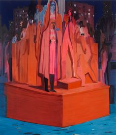 Jules de Balincourt When Masses Become Monuments, 2015, Oil on panel, 60x70in (152.4x177.8cm)