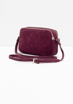 & Other Stories image 3 of Dual Pocket Suede Crossover Bag in Plum