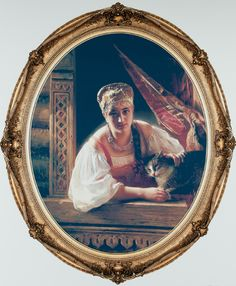 Our favorite painting at the Joslyn Art Museum:  Konstantin Egorovich Makovsky's Russian Beauty and Cat Print