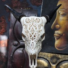 Beautiful Hand Carved Steer Tribal/ Cow Skull with Horns/ Bull/ Longhorns/ Antique Buffalo Taxidermy on Etsy, $390.96