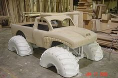 cool kid beds made from trucks | El Toro Loco Monster Truck Bed in raw wood