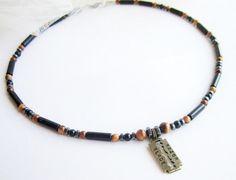 Mens necklace razor blade mens gemstone beaded by Bravemenjewelry
