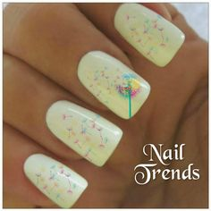 Dandelion Nail Decals. Vinyl sticker nail art.  You will receive 20 nail decals and full instructions in a resealable bag.    Fun and easy
