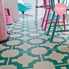 Parquet Turquoise – Flooring by Neisha Crosland for Harvey Maria Vinyl Flooring Kitchen, Kitchen Vinyl, Rubber Flooring, Lino Flooring Bathroom, Flooring Tiles, Cement Tiles, Kitchen Doors, Floors, Floor Patterns