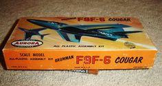 Aurora Grumman F9F 6 Cougar 1st Issue 1957 | eBay Plastic Model Kits, Plastic Models, Scale Models, Aurora, Ebay, Scale Model, Northern Lights
