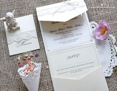 Touch of lace wedding invitation www.bohemiandreams.co.uk