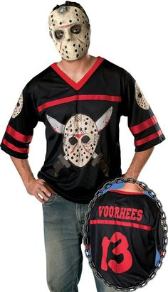 If Jason loves anything it's murder and hockey. Jason Hockey Jersey Halloween Costume for Men - Adult Costume includes a Jason mask and a black hockey jersey with the Jason . Costume Halloween, Adult Halloween, Simple Mens Halloween Costumes, Halloween House, Halloween Stuff, Halloween Party, Jason Friday, Friday The 13th, Jason Viernes 13