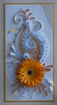 Pretty tag idea with paper flower and paper quilling.