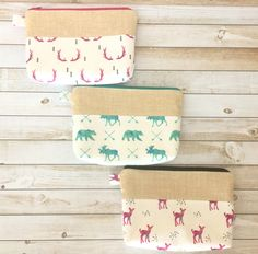 Antlers Zipper Pouch, Pencil Pouch Purse, Pencil Case, Cosmetic Bag, Moose, Bears, Deer, Fawn, Accessories, Teens, Women, Organize, Gift by LittleMissPoBean on Etsy