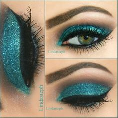Teal glitter and winged eye makeup -- soften up the teal, add a nice, warm brown in there to make it just a touch smokier...