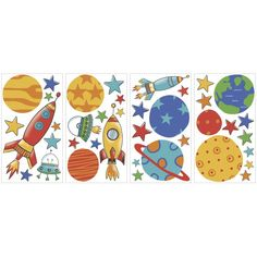 Take off into outer space with these Planets & Rockets wall decals.